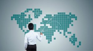 business expansion, man, graph, map