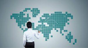 business expansion, man, graph, map